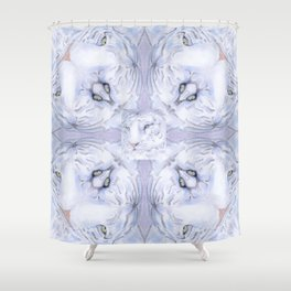 White Tiger Pattern Shower Curtain