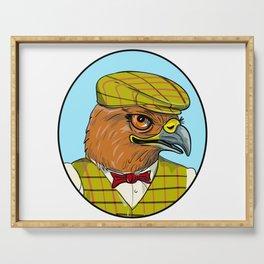 Outdoorsman Hawk Head Drawing Serving Tray