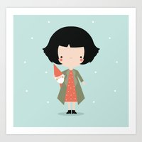 amelie Art Prints featuring Amelie by Juice for Breakfast