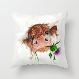 Thistle MacKenzie-McMoo by Fiona Bárcenas Throw Pillow