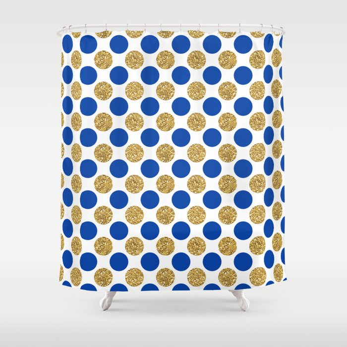 Pastel pink navy blue faux gold glitter polka dots Shower Curtain