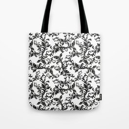 Vintage stylish black white elegant floral damask Tote Bag