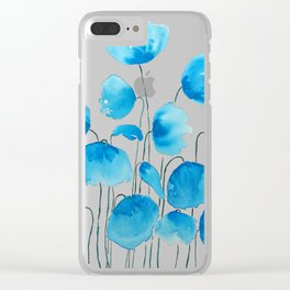 blue poppy field watercolor Clear iPhone Case