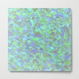 Green Blue Urban Camouflage Metal Print