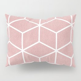 Blush Pink and White - Geometric Textured Cube Design Pillow Sham