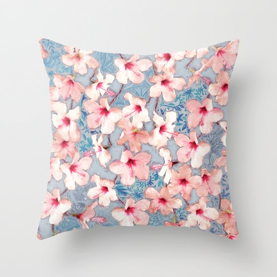 Pink Shabby Chic Throw Pillows : Shabby Chic Hibiscus Patchwork Pattern in Pink & Blue Throw Pillow by Micklyn Society6