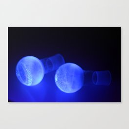 Fluorescent round bottomed flasks Canvas Print