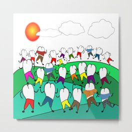 Whimsical Frolicking Teeth Metal Print