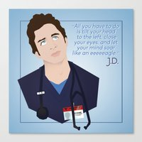 scrubs Canvas Prints featuring J.D. Scrubs-Let your mind soar like an eeeeeagle. by Violet's Corner