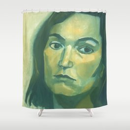 Introspective in Green Shower Curtain