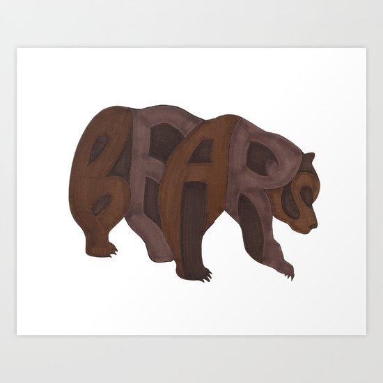 Bears Typography Art Print