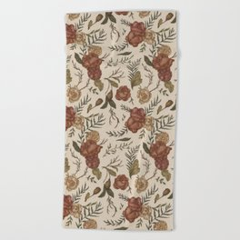 Antique Floral Pattern Beach Towel