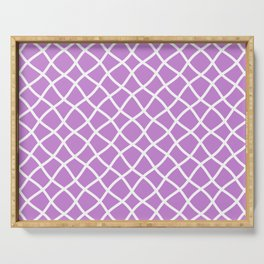 Lilac and white curved grid pattern Serving Tray