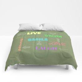 Live Dream Smile Comforters