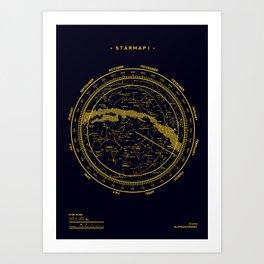 STARMAP 1 blue & gold Art Print