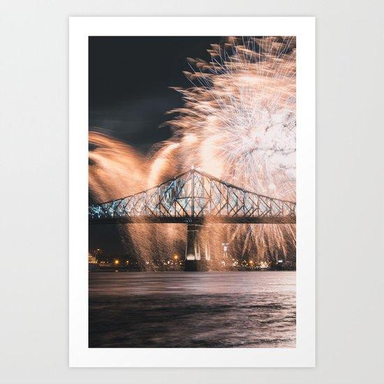 Fireworks bridge Art Print