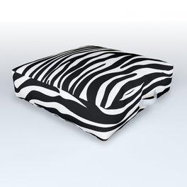 Animal Print, Zebra Stripes - Black White Outdoor Floor Cushion