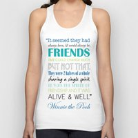 winnie the pooh Tank Tops featuring Winnie the Pooh Friendship Quote - Blues & Greens by Jaydot Creative