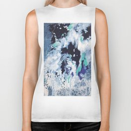 Carefree Blue Abstract Biker Tank
