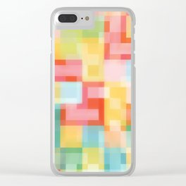 Soft Squares Geometric in Yellow, Orange, Red and Blue Clear iPhone Case