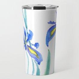 blue iris watercolor Travel Mug