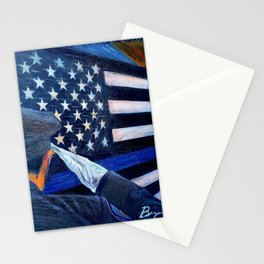 """Stay Safe"" Thin Blue Line - Police - Law Enforcement - Original Art Drawing by Bryn Reynolds Stationery Cards"