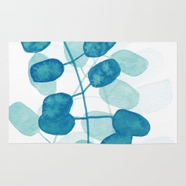 Teal Leaves Rug