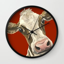 Cute Cow Painting, Red Cow Painting Wall Clock