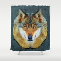 polygon Shower Curtains featuring polygon wolf by Ancello