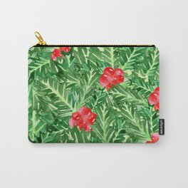 Holly Jolly Christmas Leaves & Berries (Large Pattern) Carry-All Pouch