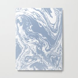 Marble suminagashi blue marbling japanese marbled abstract pattern Metal Print