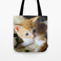 kitten Tote Bags featuring Kitten  by Christine baessler