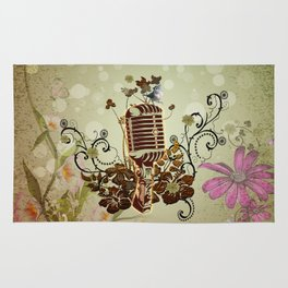 Music, microphone with flowers and cute ittle bird Rug