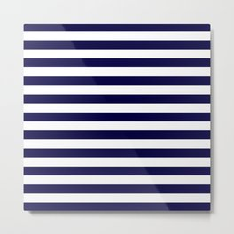 Dark blue and white stripes Metal Print