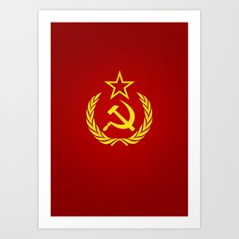 Hammer and Sickle Textured Flag Art Print