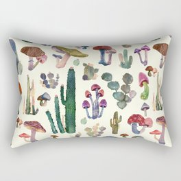 Cactus and Mushrooms Rectangular Pillow