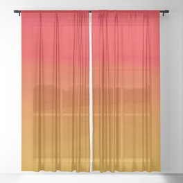 Red Apple and Golden Honey Ombre Sunset Sheer Curtain