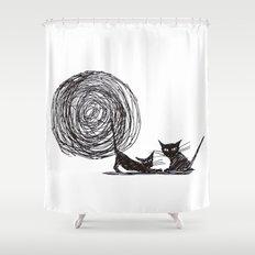 Moon me kitty Shower Curtain