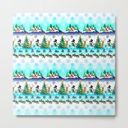 Christmas, Snowman Lawn Party with Friends Metal Print