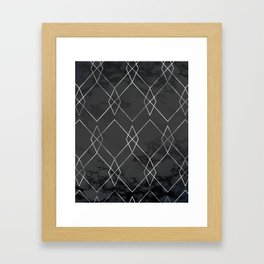 Silver Geometric on Black Marble Framed Art Print