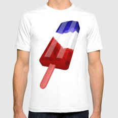 Popsicle Red White and Blue SMALL Mens Fitted Tee White