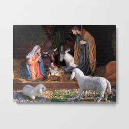 Christmas and Christianity. Nativity scene. Metal Print