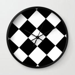 Black and white diamond pattern, geometric pattern Wall Clock