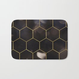Dark bokeh gold hexagons Bath Mat