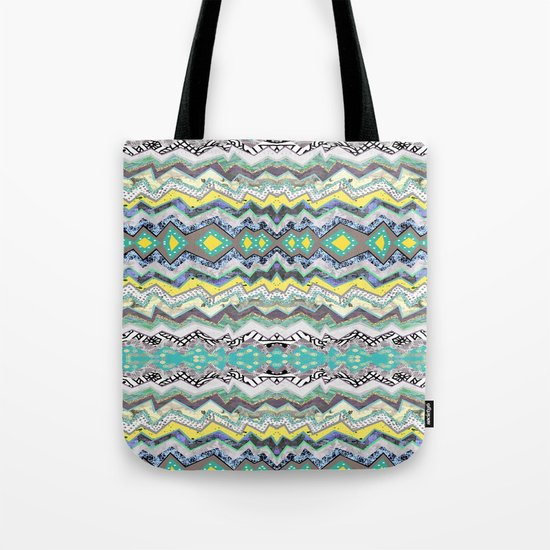 Teal Yellow White Midnight Aztec Tote Bag