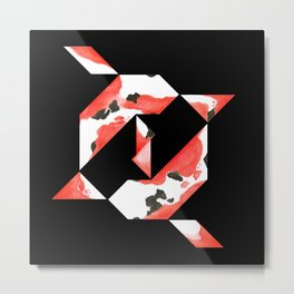 Tangram Koi - Black background Metal Print