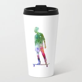 Man skateboard 08 in watercolor Travel Mug