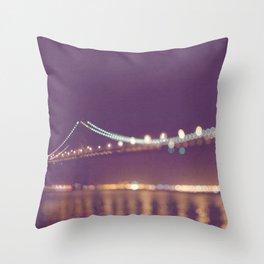 Let's go for a walk. San Francisco Bay bridge night photograph. Throw Pillow