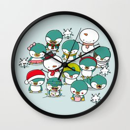 Kawaii Penguins Wall Clock