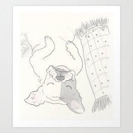 Topsy Turvy Snoozing Frenchie French Bulldog Black & White Art Print